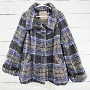 Free People Anthro wool mix folded collar coat S